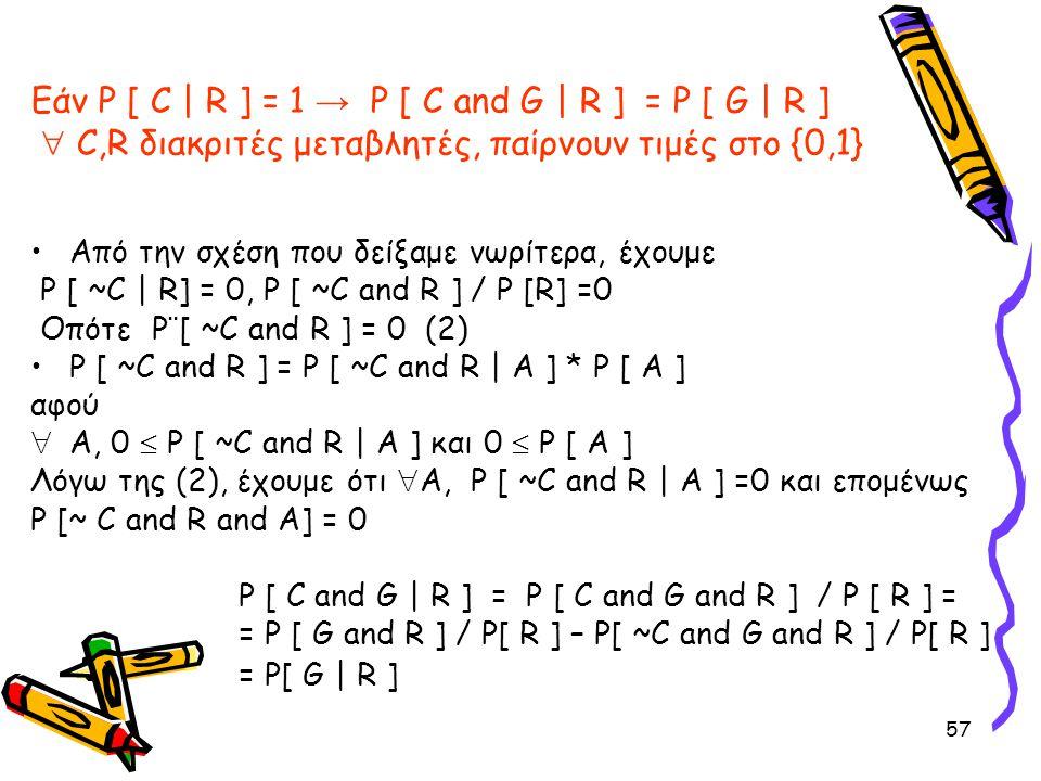 Εάν P [ C | R ] = 1 → P [ C and G | R ] = P [ G | R ]  C,R διακριτές μεταβλητές, παίρνουν τιμές στο {0,1}